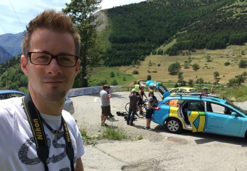 Das Drehteam auf dem Alpe d'Huez