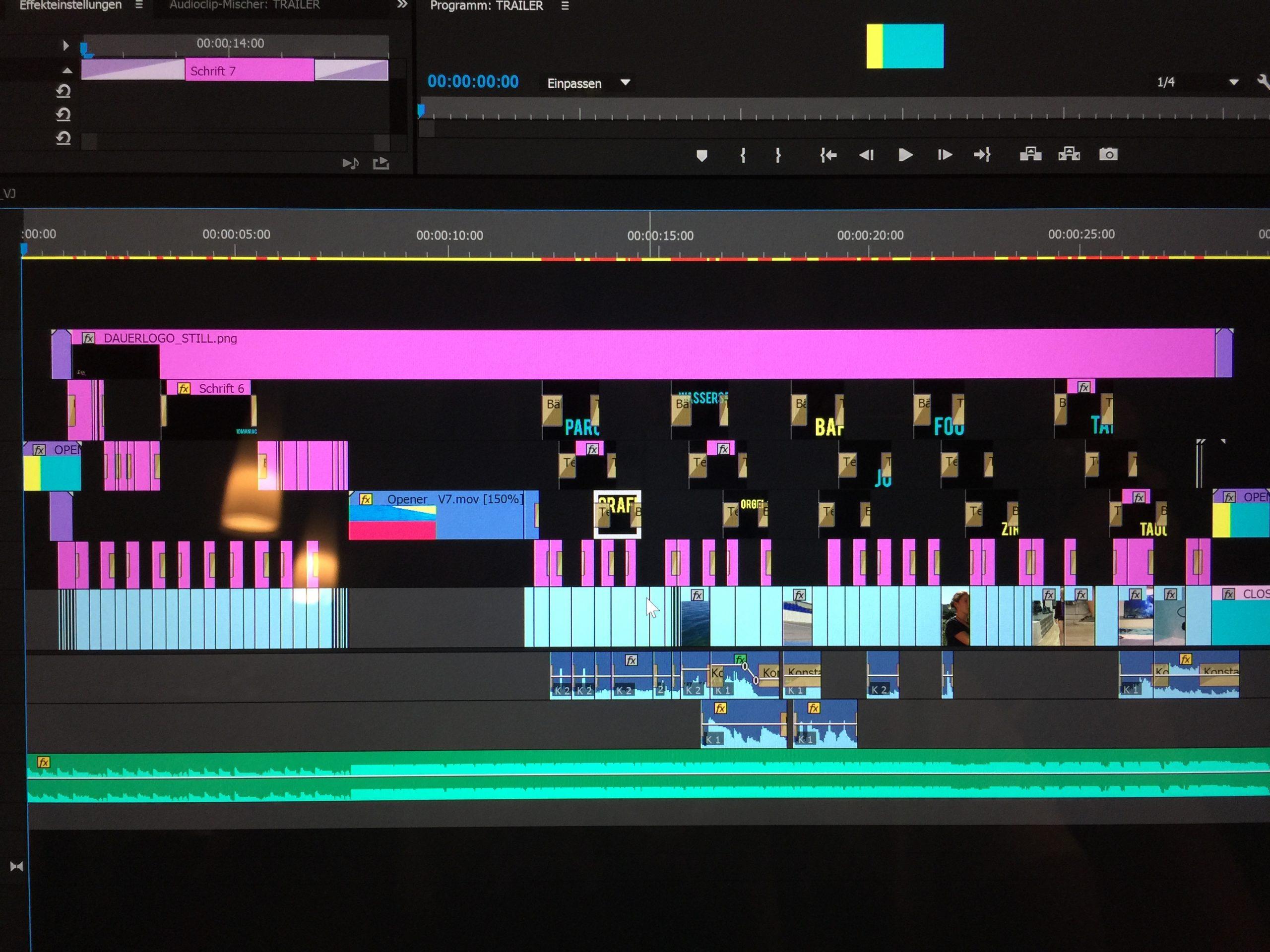 So schaut der Trailer im Schnittprogramm aus (Premiere Pro)