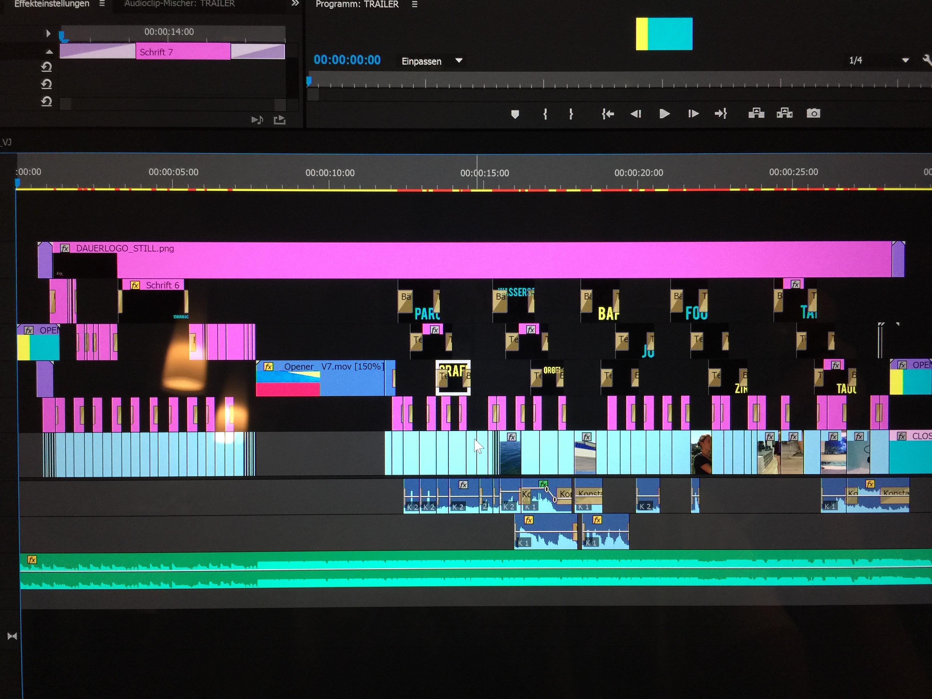 So schaut der Trailer im Schnittprogramm aus (Premiere Pro) ;-)